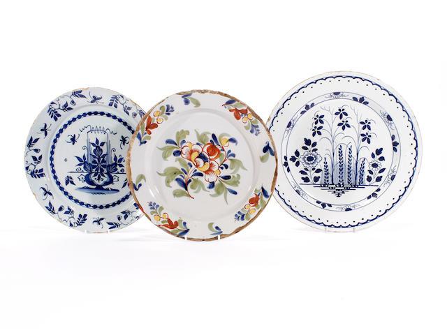 Three delft plates, 18th century