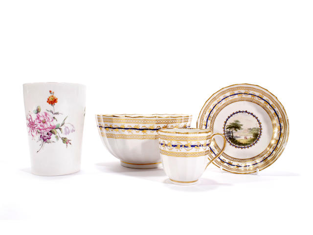 A Derby coffee cup and saucer and slop bowl by Zachariah Boreman, and a beaker, circa 1790 and 1760