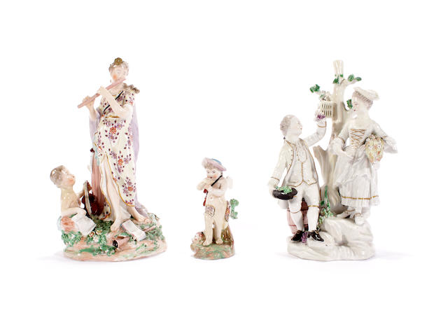 Two Derby figure groups and a small figure of a boy, circa 1775-80