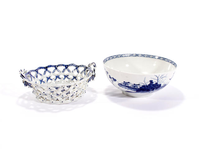 A Worcester bowl, circa 1765-75, and a Worcester basket, circa 1770-85