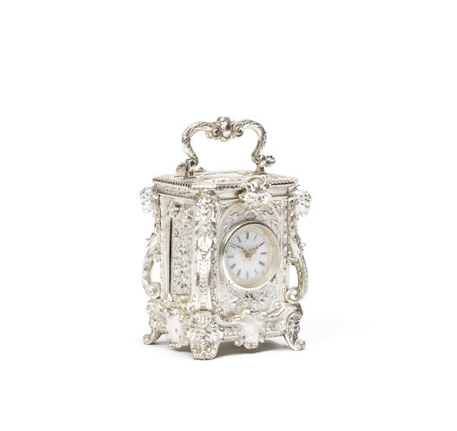 A late 19th century French silvered Renaissance revival carriage timepiece Drocourt
