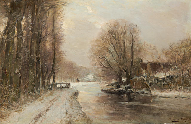 oil on panel by Louis Apol, 1850-1936, winterlandscape ca 29 x 41 cm
