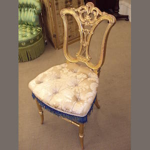 A set of three Victorian giltwood salon chairs, circa 1860