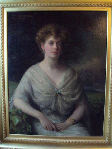 Sidney W. White (British, active 1892-1903) Half length portrait of Mary, wife of Charles Botolph Joseph, 24th Lord Mowbray, 25th Lord Segrave and 21st Lord Stourton