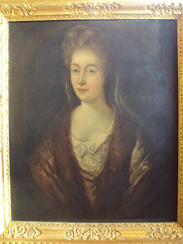English School, 19th century Half length portrait of Lady Mowbray and Stourton