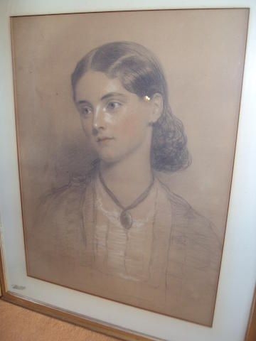 English School, 19th century Half length portrait of Ethel Swinburne