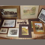 A collection of watercolours, prints and photographs of Heslington Hall  (mostly unframed).
