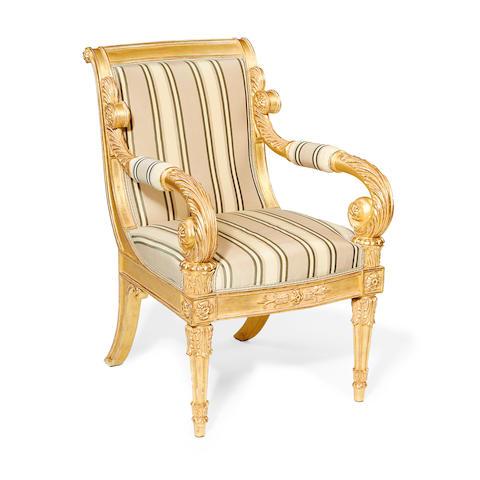 A George IV giltwood armchair