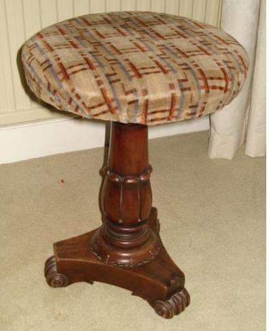 Early Victorian mahogany piano stool, on tulip carved column, triform base, 47cm high.