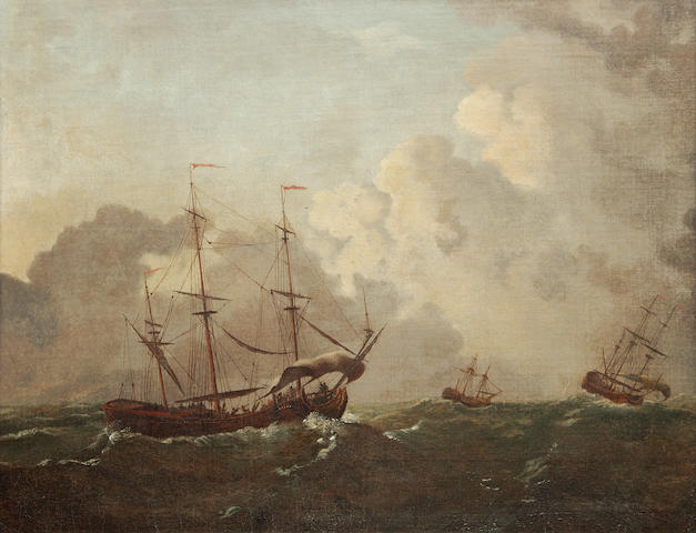 English School, 18th Century Shipping in a stormy sea