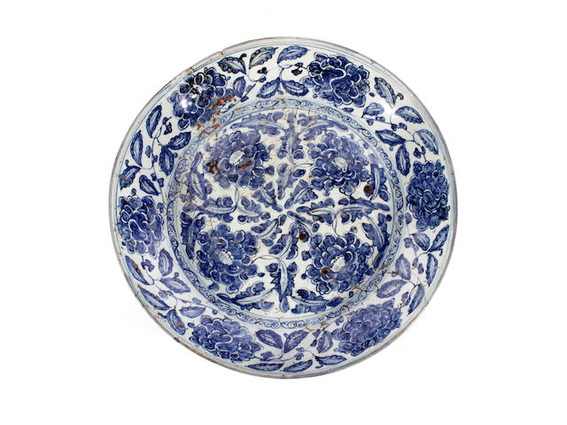 A large blue and white dish, circa 1500