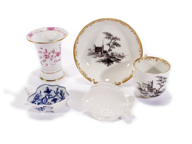 A Vienna cup and saucer, circa 1765-70 and three other pieces, 20th century