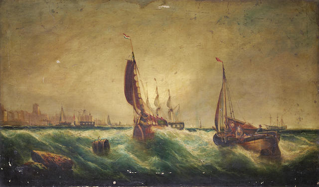 Attributed to William McAlpine (British, 19th Century) Dutch pinks and a frigate off a continental port