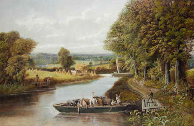 Edward Priestley (British, 19th Century) Ferry on the Severn; Crossing the stream, a pair each 61 x 91.5 cm (24 x 36in). (2)