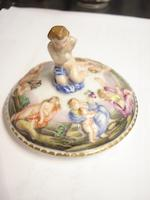 A pair of Naples capodimonte style chocolate cups and covers 19th century