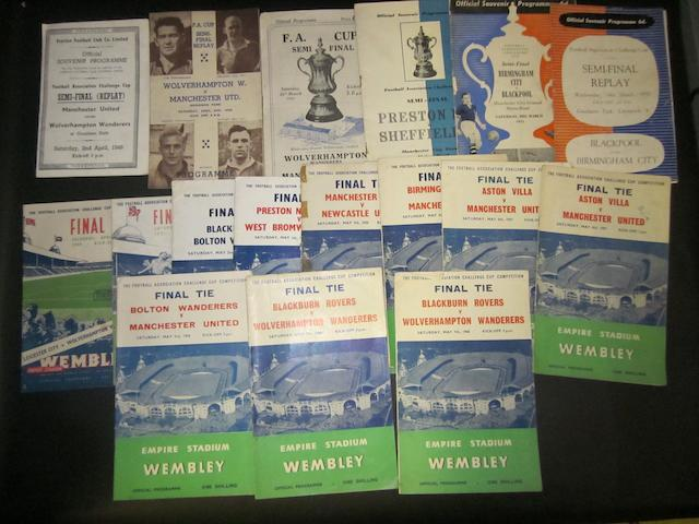 A collection of F.A. cup programmes