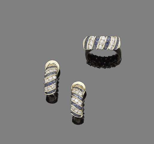 A pair of sapphire and diamond earrings and ring suite (2)