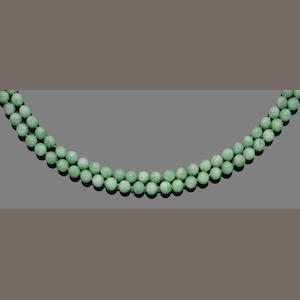 Two double-strand jade bead necklaces and a single-strand jade bracelet (3)