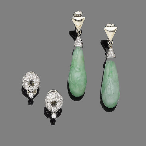 A pair of jade and diamond earclips and a pair of diamond earclips (2)