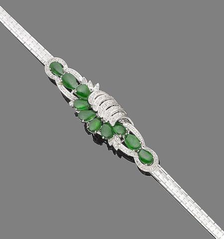 A jade-set bracelet