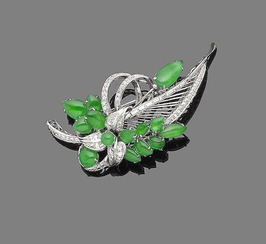 A jade spray brooch