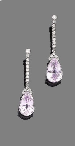 A pair of kunzite and diamond pendent earrings,