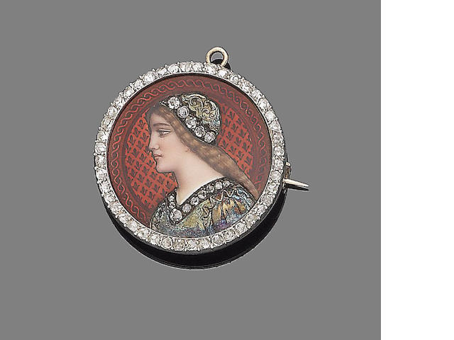 A late 19th century enamel and diamond brooch/pendant