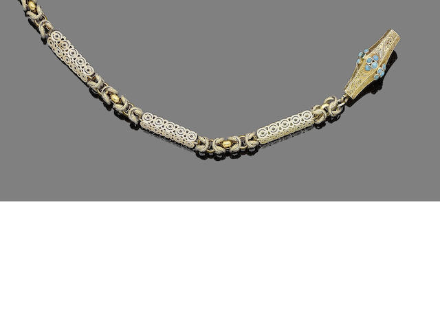 A gold and turquoise fancy-link necklace,