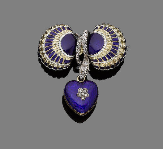 A mid 19th century enamel and diamond locket brooch