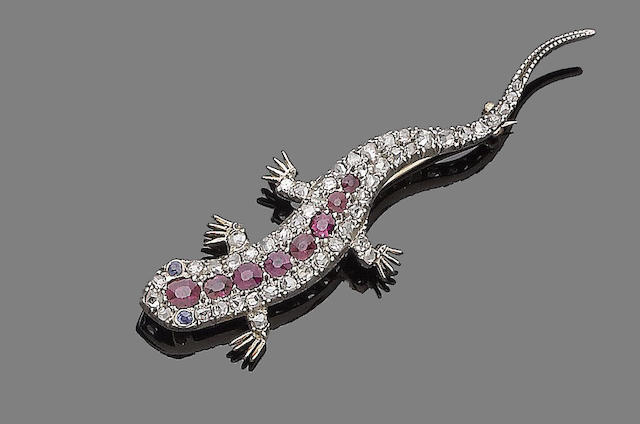 A ruby, sapphire and diamond lizard brooch,