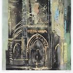 John Piper C.H. (British, 1903-1992) Eglise de Vernon, Normandy  The rare aquatint with hand-colouring in ochre and blue-grey gouache by the artist, 1972, on TH Saunders, signed and inscribed 'artists proof' in pencil, one of only six hand-coloured proofs aside from the edition of 50, printed at Burleighfield House, London, published by Pallas Gallery, London, with margins, 840 x 661mm (33 1/8 x 26in)(PL)