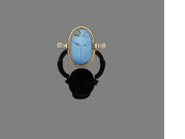 A faience scarab ring,
