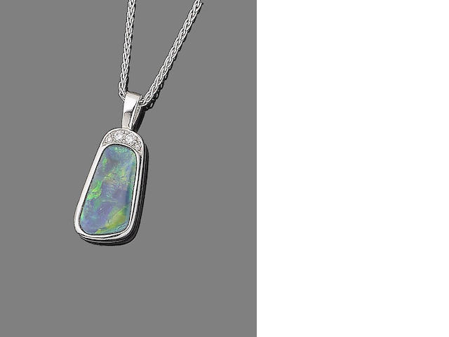 An opal and diamond pendant necklace