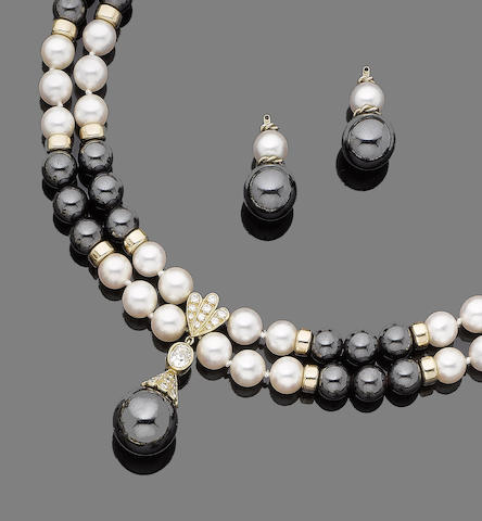 A hematite, cultured pearl and diamond necklace, bracelet and earring suite, and a pair of diamond earstuds (4)