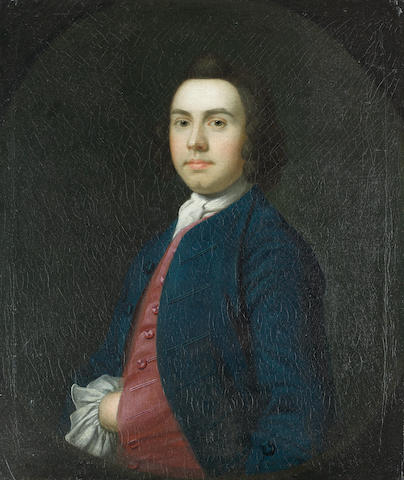 William Keeble (East Anglia circa 1714-1774 Bologna) Portrait of a gentleman, half-length, in a blue coat and red waistcoat,