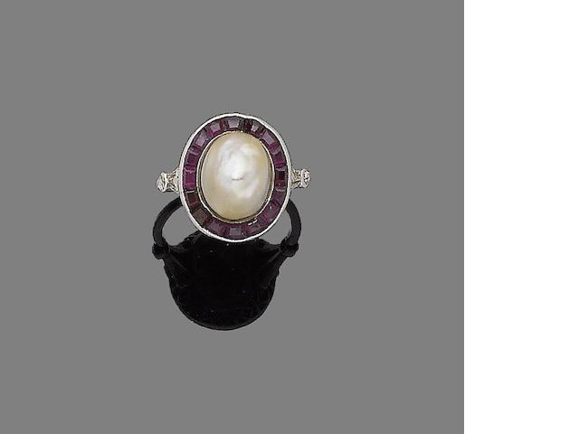 A natural pearl and ruby ring,