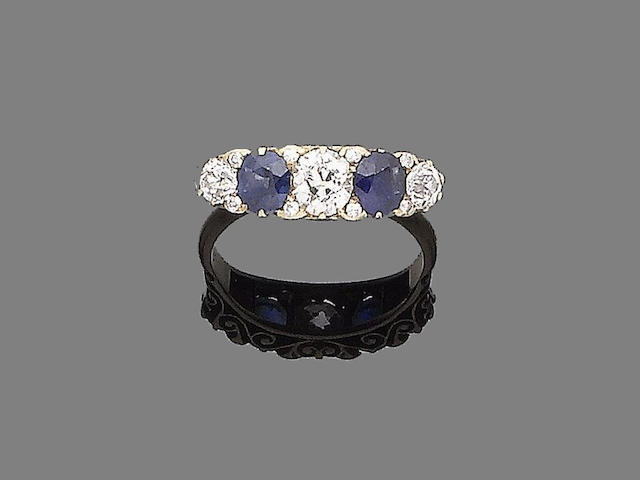 A late 19th century sapphire and diamond ring