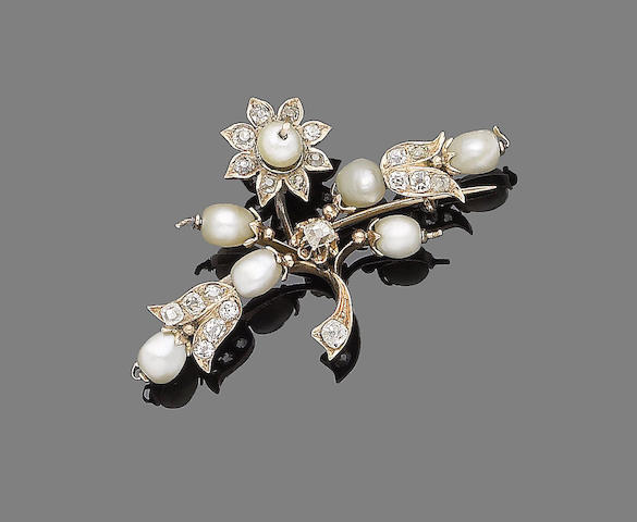A pearl and diamond floral brooch