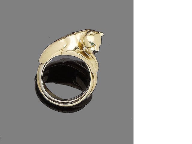 A gem-set panther ring, by Cartier