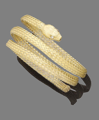 A diamond-set snake bangle