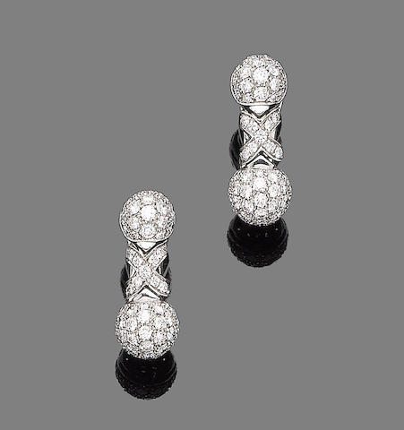 A pair of diamond pendent earclips, by Bulgari