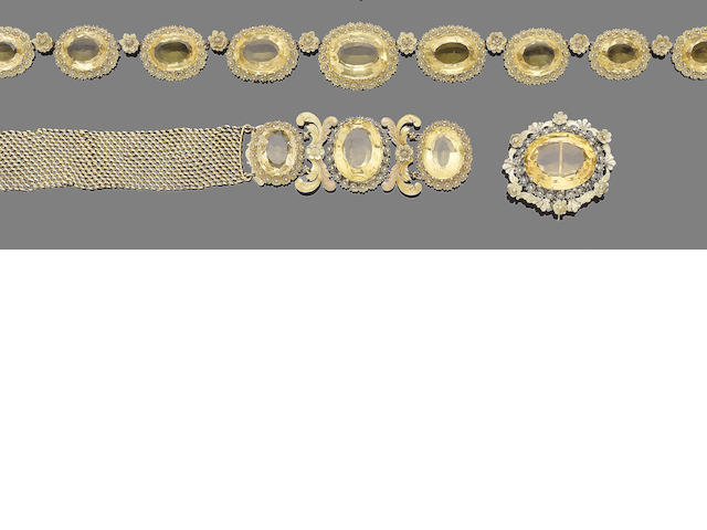 A gold cannetille and citrine demi-parure, (5) (partially illustrated)