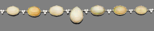 An early 20th century opal and diamond necklace