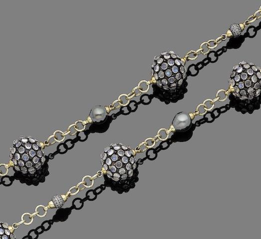 A labradorite, cultured pearl and diamond necklace