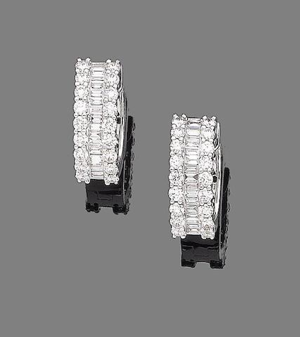 A pair of diamond earhoops