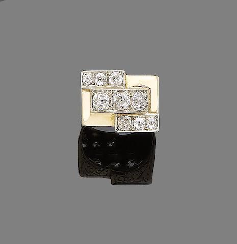 A diamond-set ring,