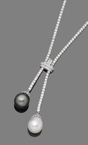 A cultured pearl and diamond négligée necklace