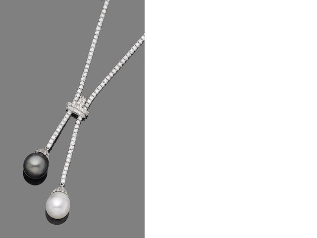 A cultured pearl and diamond négligée necklace