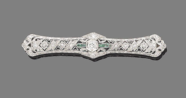 A belle époque synthetic emerald and diamond brooch,