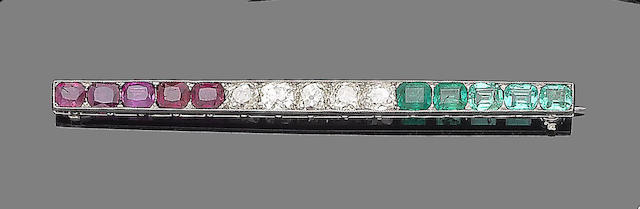 An emerald, ruby and diamond bar brooch
